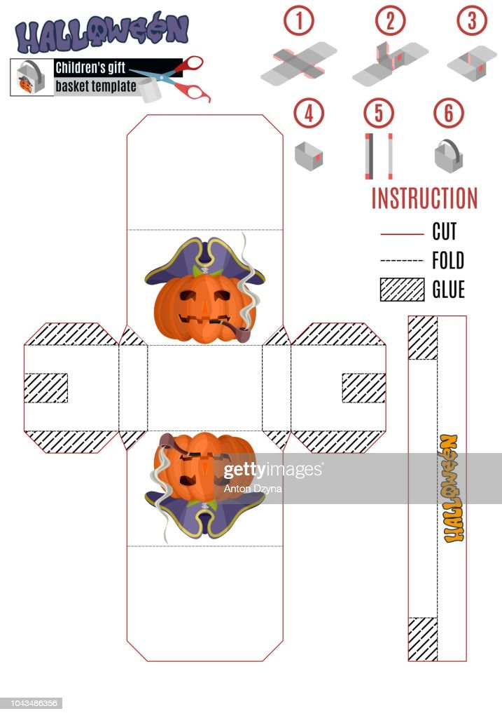 template for building a white box with a Halloween pumpkin pirat