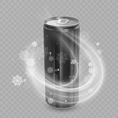 Template for Drink package design, Aluminum can of Black color, Ice drink metallic can.