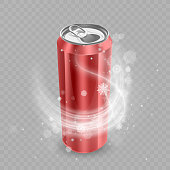 Template for Drink package design, Aluminum can of Red color, Ice drink metallic can.