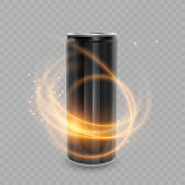 Template for Energy drink package design, Aluminum can of Black color