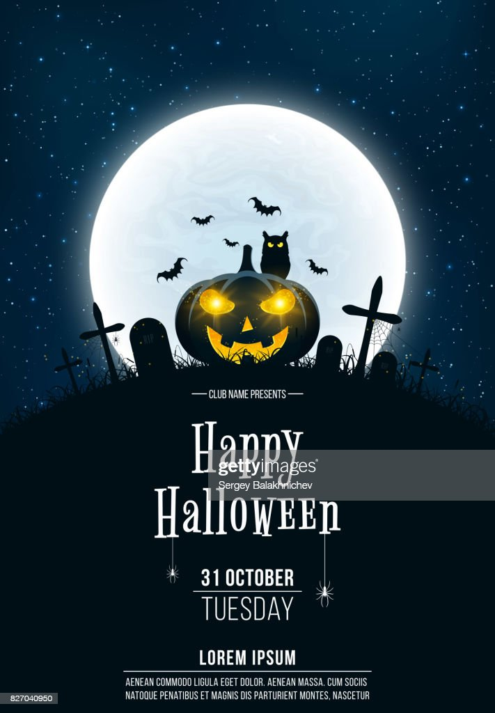Template for Halloween party. A terrible concept of crosses, graves and a glowing pumpkin. Gold dust. The black owl. Full moon. Vertical background. Club poster. Vector illustration