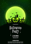 Template for Halloween party. A terrible concept of crosses, graves and glowing pumpkins. Green dust. The black owl. Full moon. Vertical background. Club poster. Vector illustration