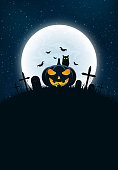 Template for Halloween party. The night scene of horrors. The concept of crosses, graves and glowing pumpkin. The black owl. Full moon. Vertical background. Club poster. Vector illustration