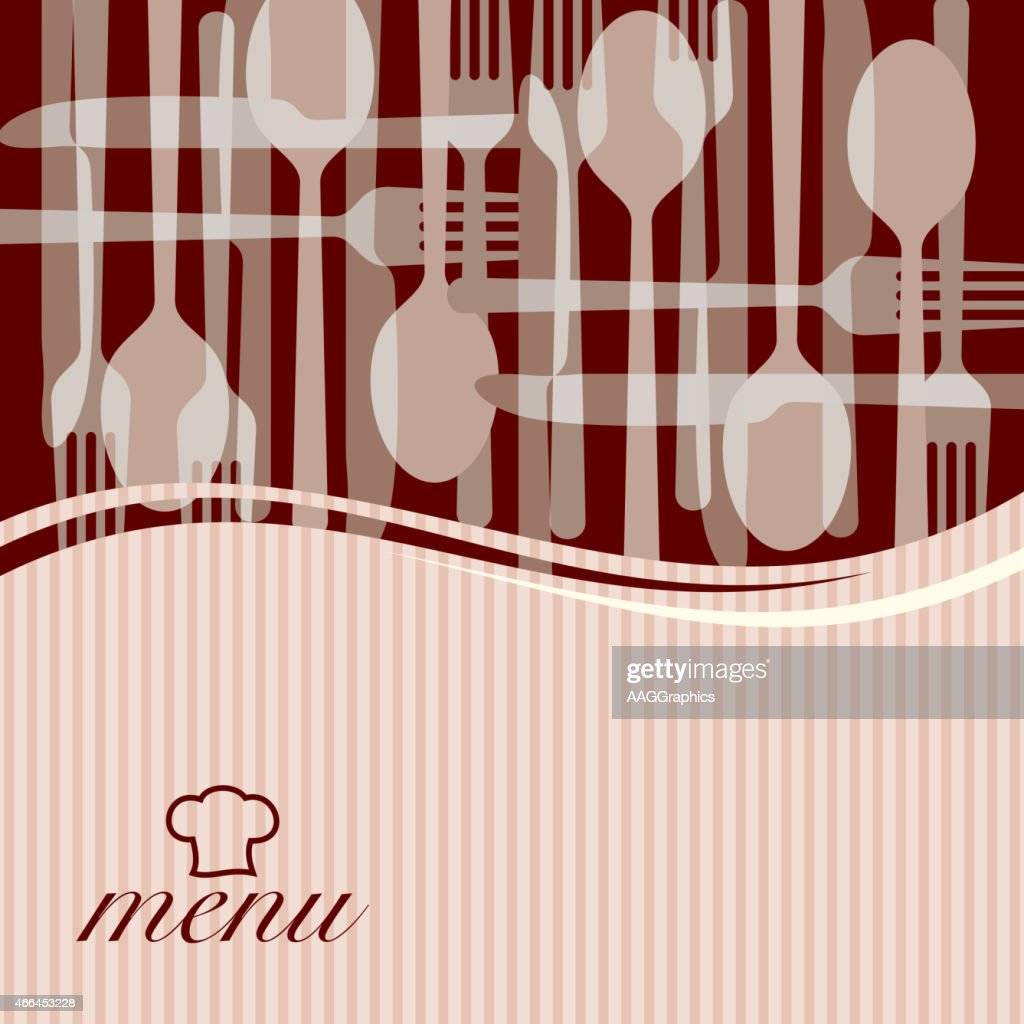Template for menu card with cutlery - Illustration