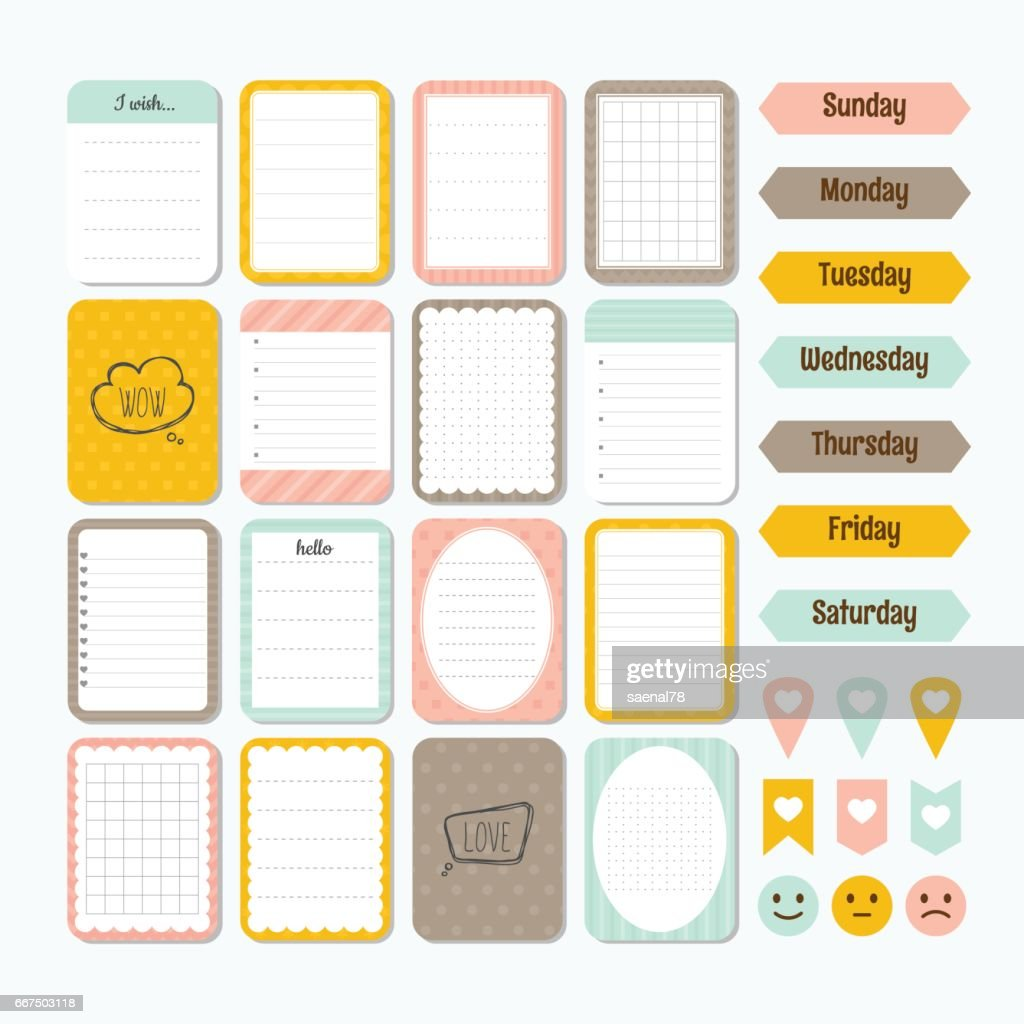 Template for notebooks. Cute design elements. Collection of various note papers. Flat style. Notes, labels, stickers