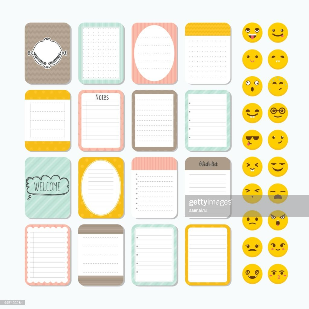 Template for notebooks. Cute design elements. Notes, labels, stickers, smile emoji. Collection of various note papers. Flat style