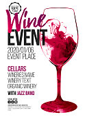 Template for promotions or presentations of wine events. Illustration with liquid effect. Stains of red wine.