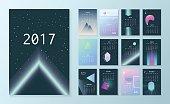 Template futuristic calendar for 2017.