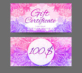 Template gift certificate for yoga studio, spa center, massage parlor, beauty salon.