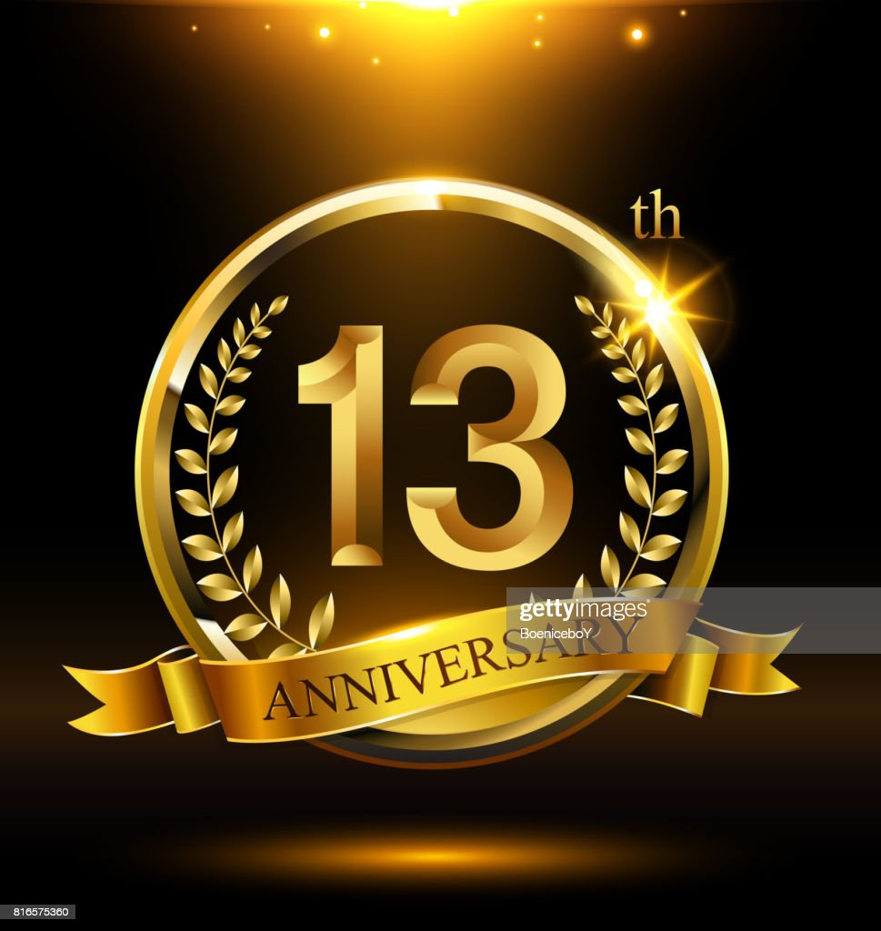 Template golden 13th icon anniversary with ring and laurel branches on dark background