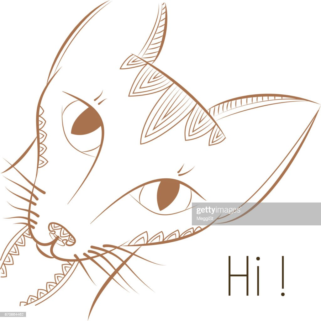 Template greeting card. Doodle cat says hi! Halloween pattern.