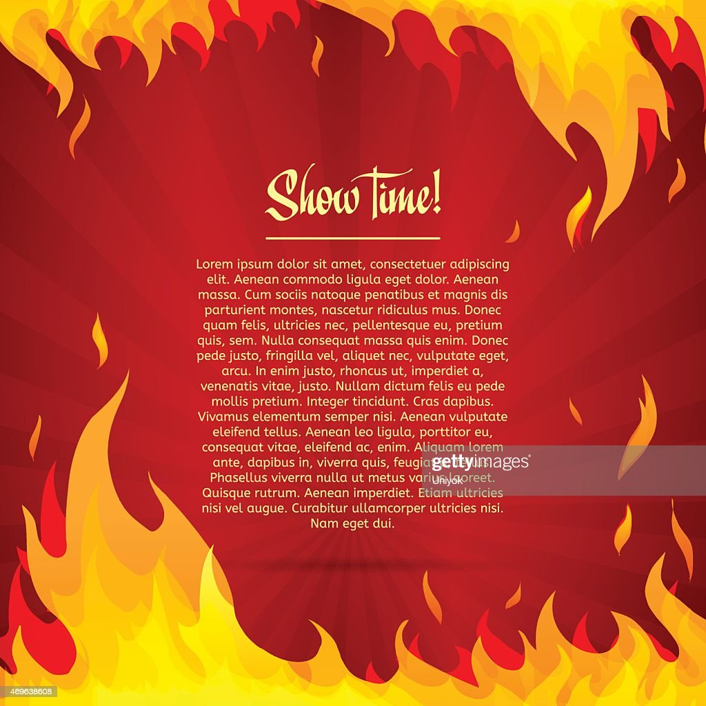 Template greeting card with red background. Frame of fire.