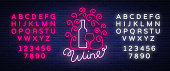 Template icon wine bar in a trendy neon style. icon, badge glowing banner. For the menu, bar, restaurant, wine house, wine label, vineyard, winery. Vector illustration. Editing text neon sign