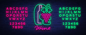 Template icon wine bar in a trendy neon style. icon, badge glowing banner. For the menu, bar, restaurant, wine list, wine house, wine label, vineyard. Vector illustration. Editing text neon sign