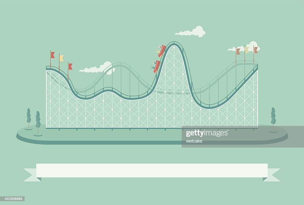 Template if a roller coaster with people on it vector art for Coaster size template