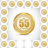 ОсновныеTemplate Logo Set  Anniversary Vector Illustrat