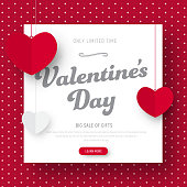 Template of a red vector web banner for sale on Valentines Day