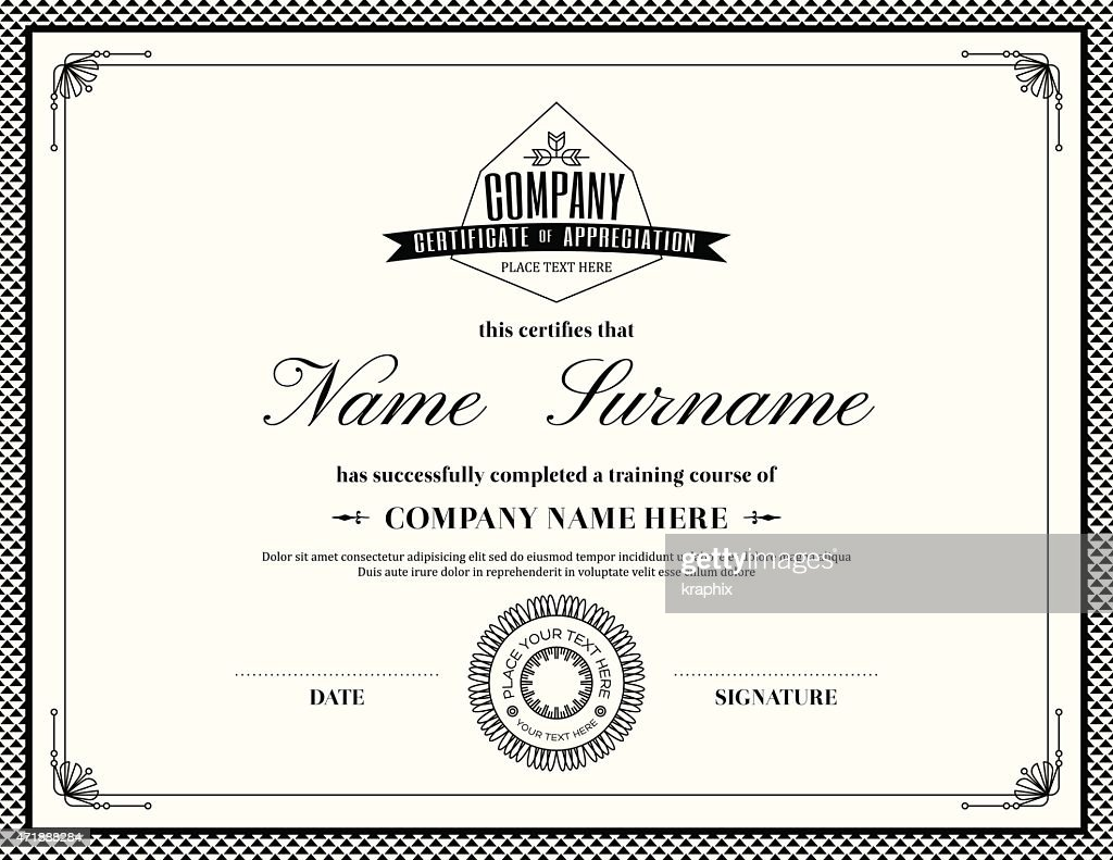 Template of a retro style certificate of completion