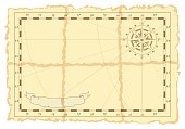 Template of an old sea map. Vector illustration.