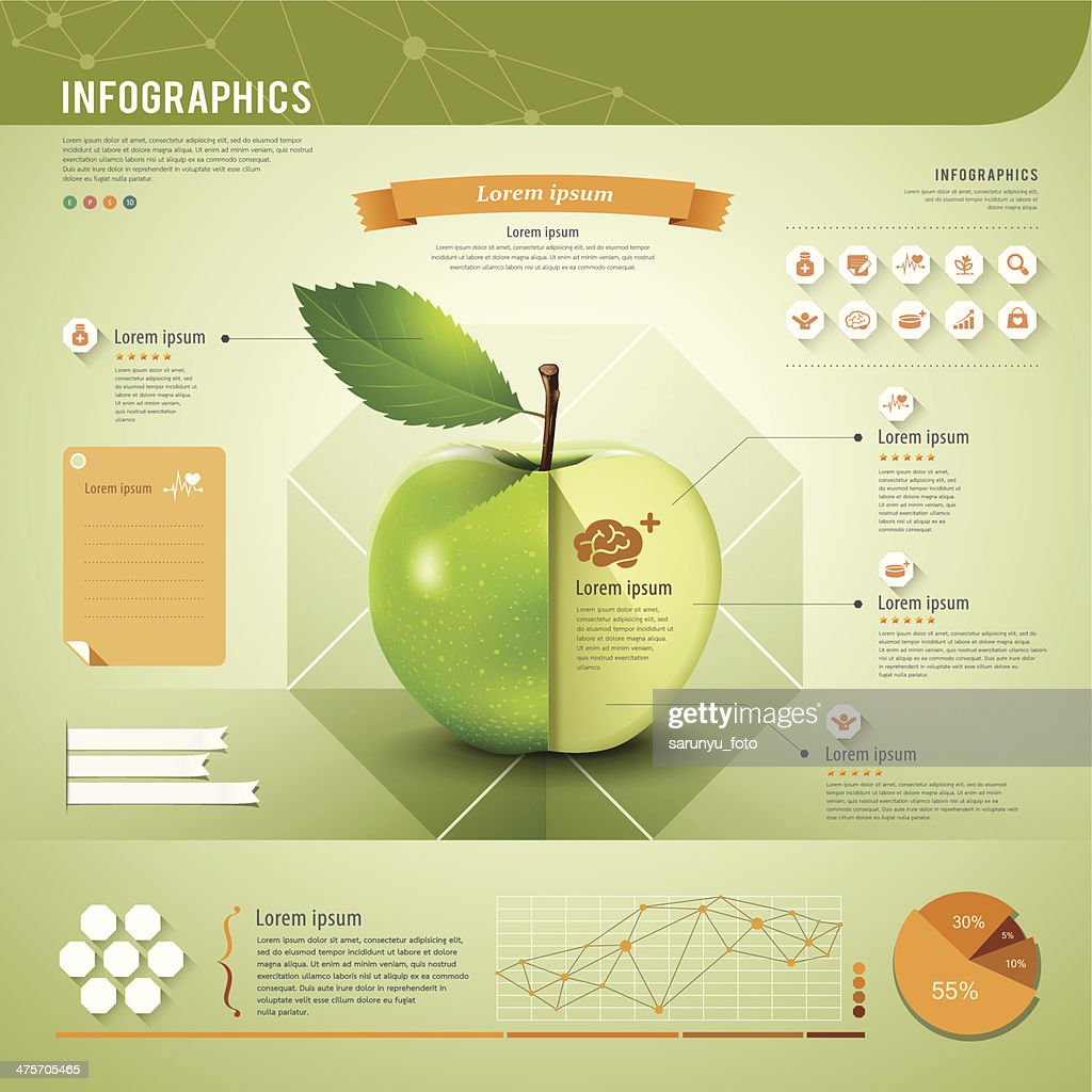 Template of apple infographics in green and orange