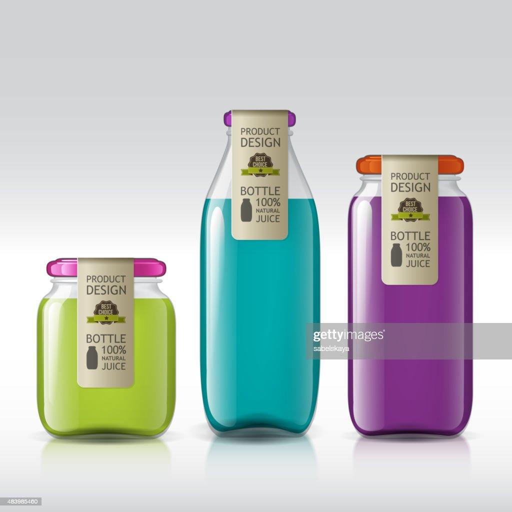 template of bottle juice, jam, liquids