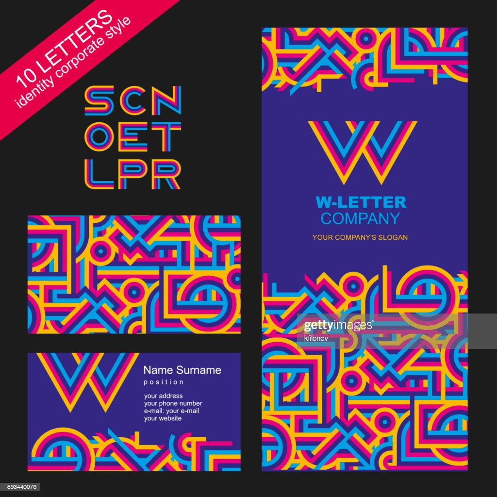 Template of brand name from bright lines. Modern, graphic style of the company. The letters s, c, n, o, e, t, l, p, r. Corporate style: a sign, a business card, a booklet cover or a corporate folder, a web icon. Abstract pattern of bright, intersecting li