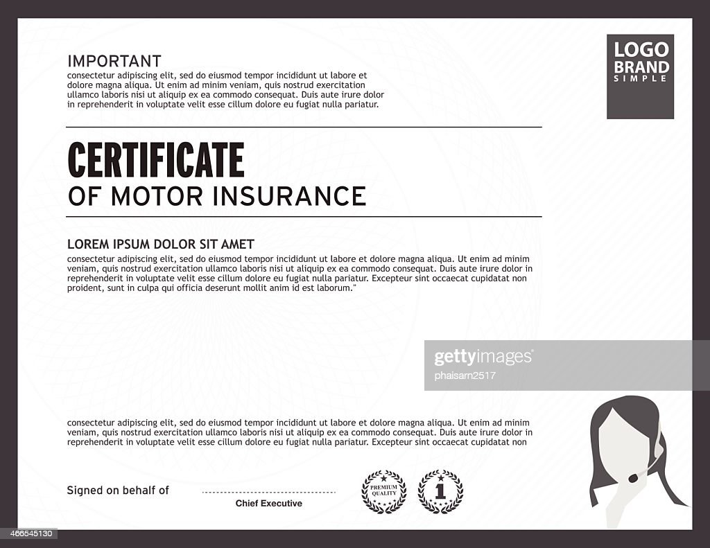 Template of certificate motor insurance with woman logo