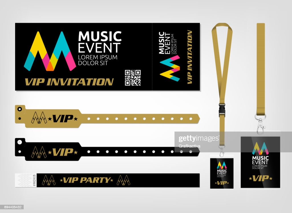 Template of different access control designs. Suitable for events, concerts, parties, festivals and private areas. Bracelets, ticket and lanyards.