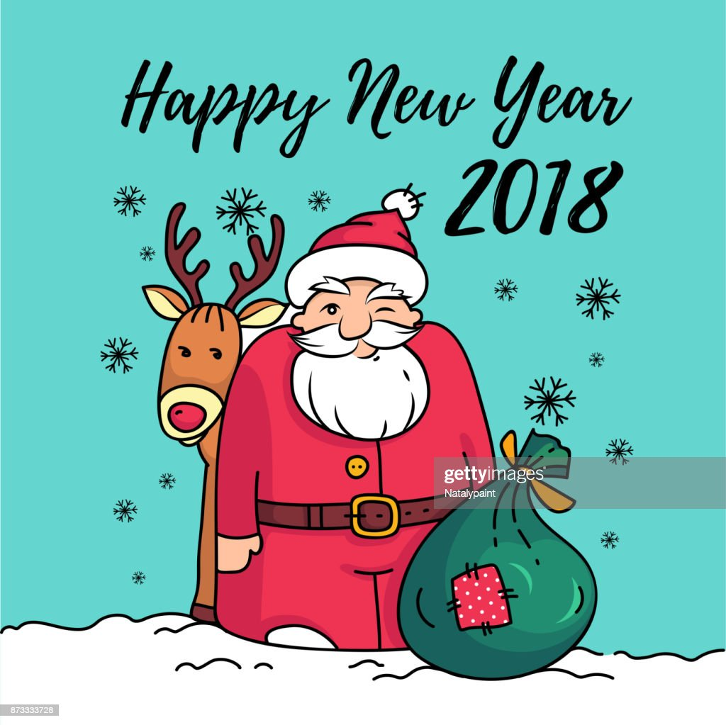 Template Of Happy New Year 2018 Card With Santa Claussanta With ...