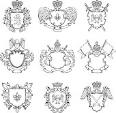Template of heraldic emblems. Different empty frames for icon or badges design