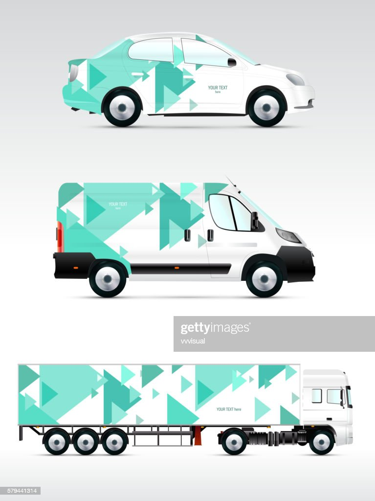 Template of vehicles for advertising, branding or corporate identity.