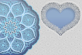 Template of wedding greetings or invitations. 3D mandala, heart-shaped frame with lace edges, surface with a relief pattern. Abstract background on the surface. Place for the inscription in the frame. Vector.