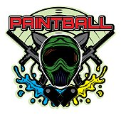 template on the theme of paintball his helmet, weapon, blots