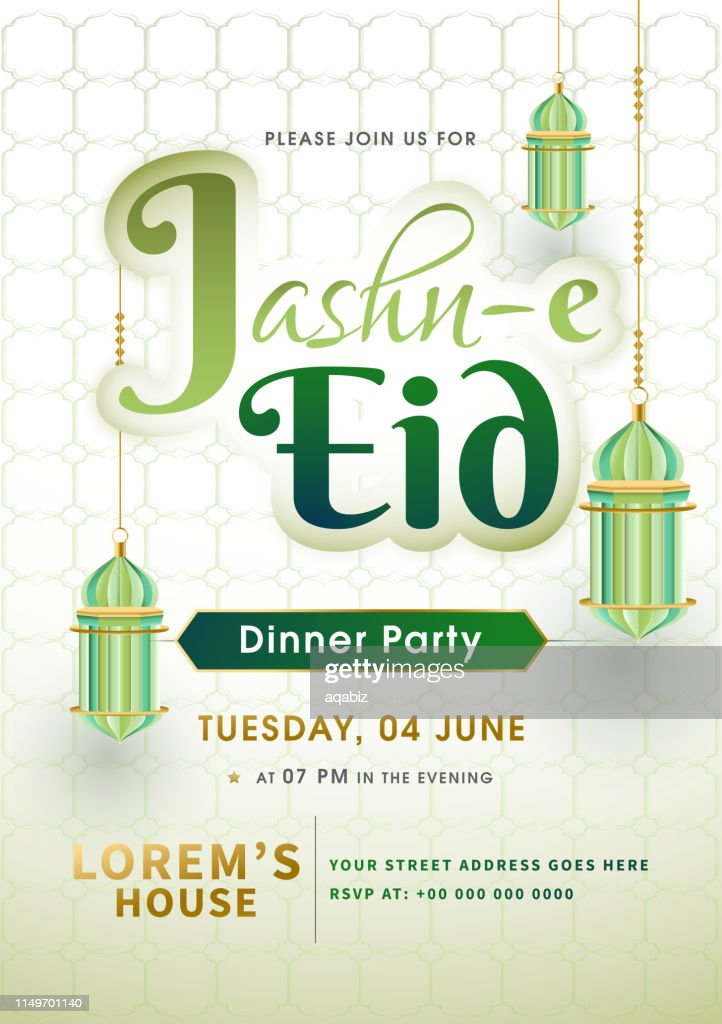 Template or invitation card design decorated with arabic lanterns hanging on islamic pattern background for Jashn E-Eid festival celebration.
