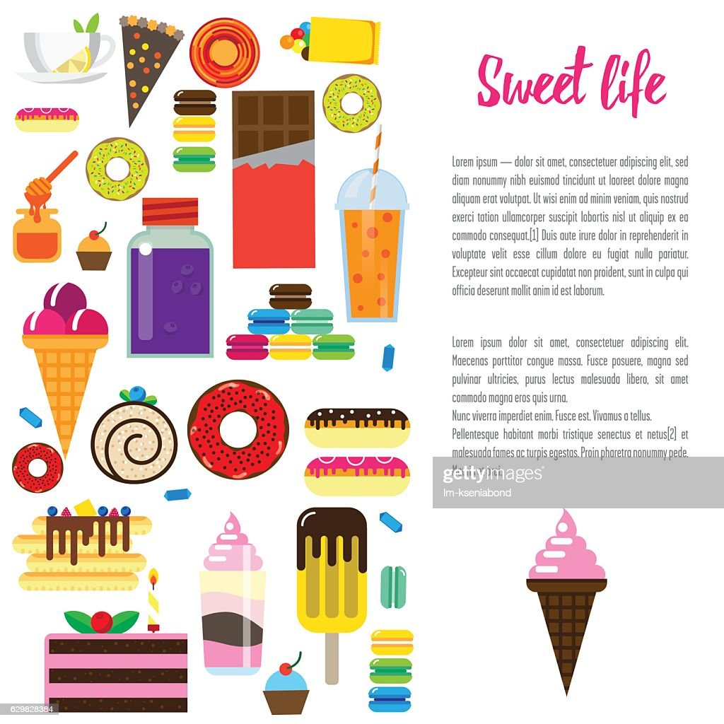 Template page design with flat sweets.