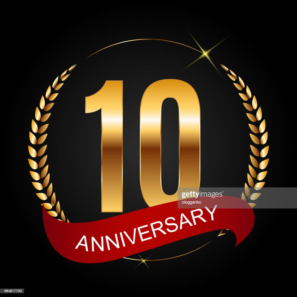 Template Symbol 10 Years Anniversary Vector Illustration Vector Art