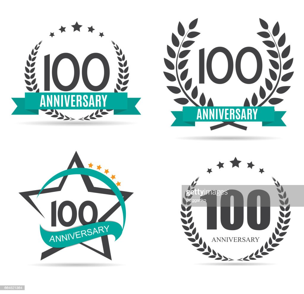 Template symbol 100 Years Anniversary Set Vector Illustration