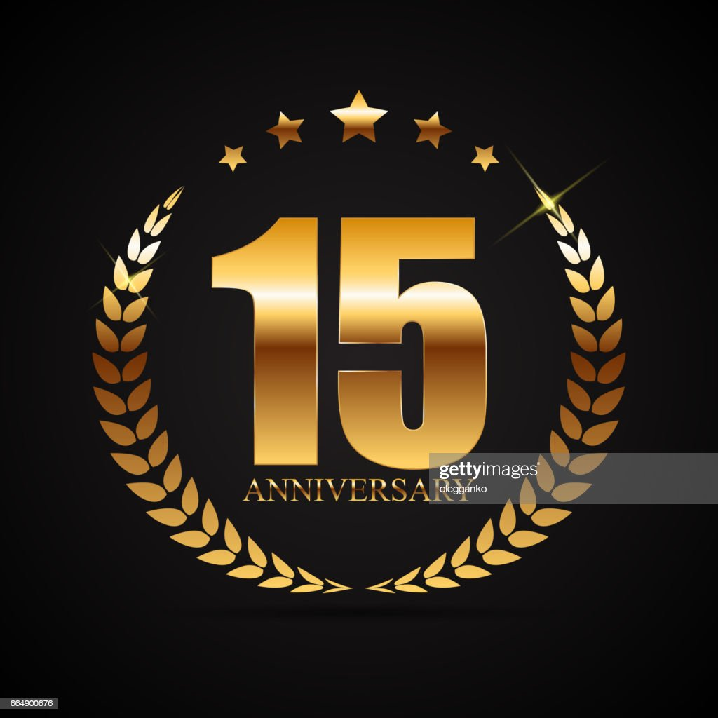 Template Symbol 15 Years Anniversary Vector Illustration Vector Art
