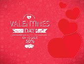 Template valentines day up to sale 50% card and banner.