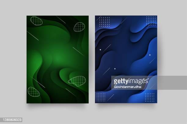 illustrations, cliparts, dessins animés et icônes de conception vectorielle de modèle pour brochure, rapport annuel, magazine, affiche, présentation d'entreprise, portefeuille, flyer, mise en page moderne avec la taille verte et bleue de couleur a4, avant et arrière, facile à utiliser et à modifier. - imprimé graphique