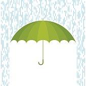Template vector flat illustration of umbrella and rain drops