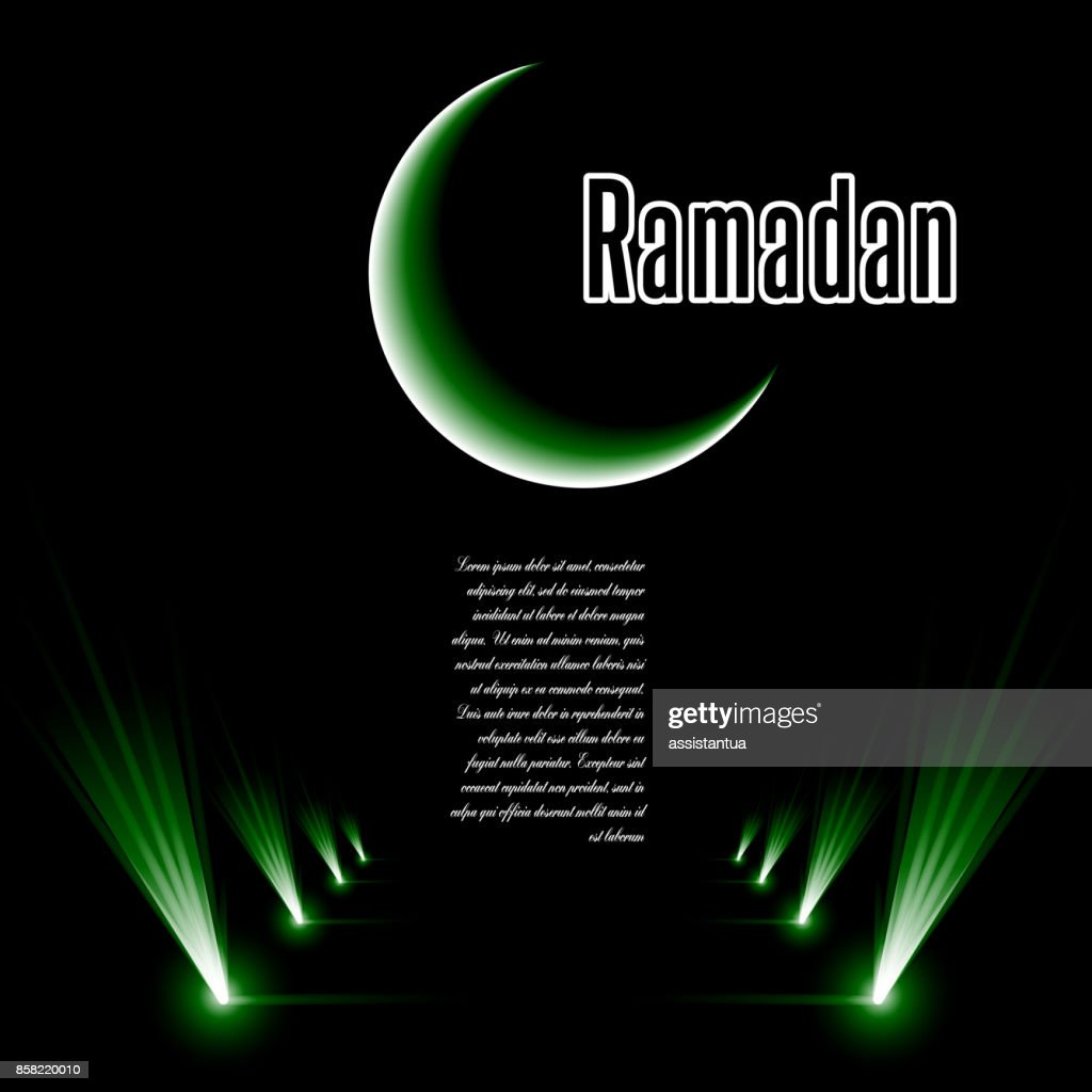 Template vector with moon, star, dark green background with inscription Ramadan