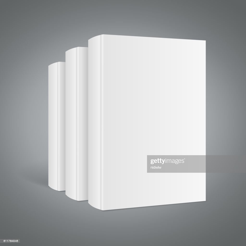 Template White Blank Book Stack. Vector