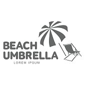 Template with beach umbrella and sun bathing lounge chair