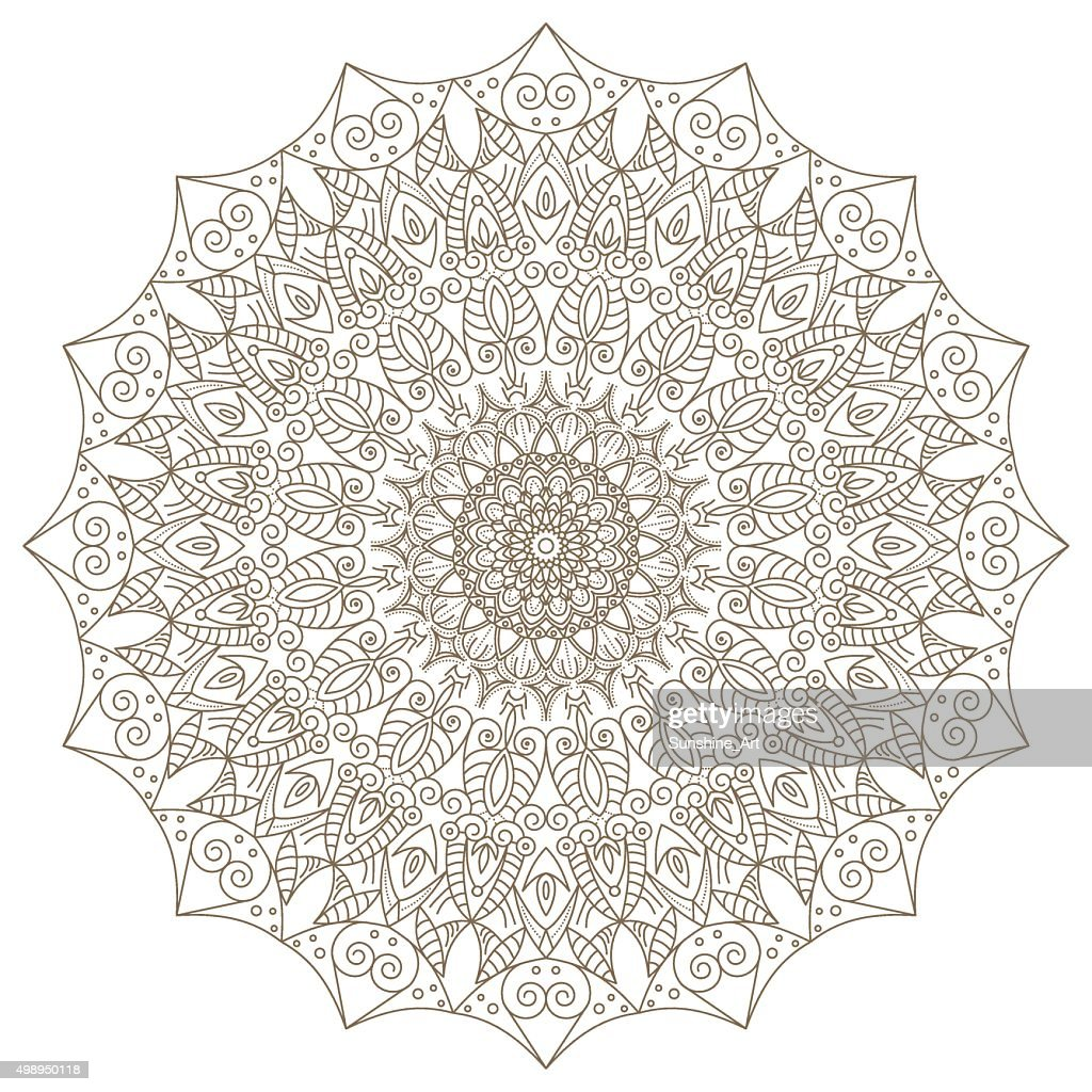Template with Mandala lace ornament