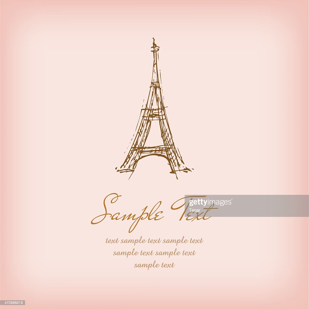 Template with sketchy illustration of Eiffel Tower and sample text