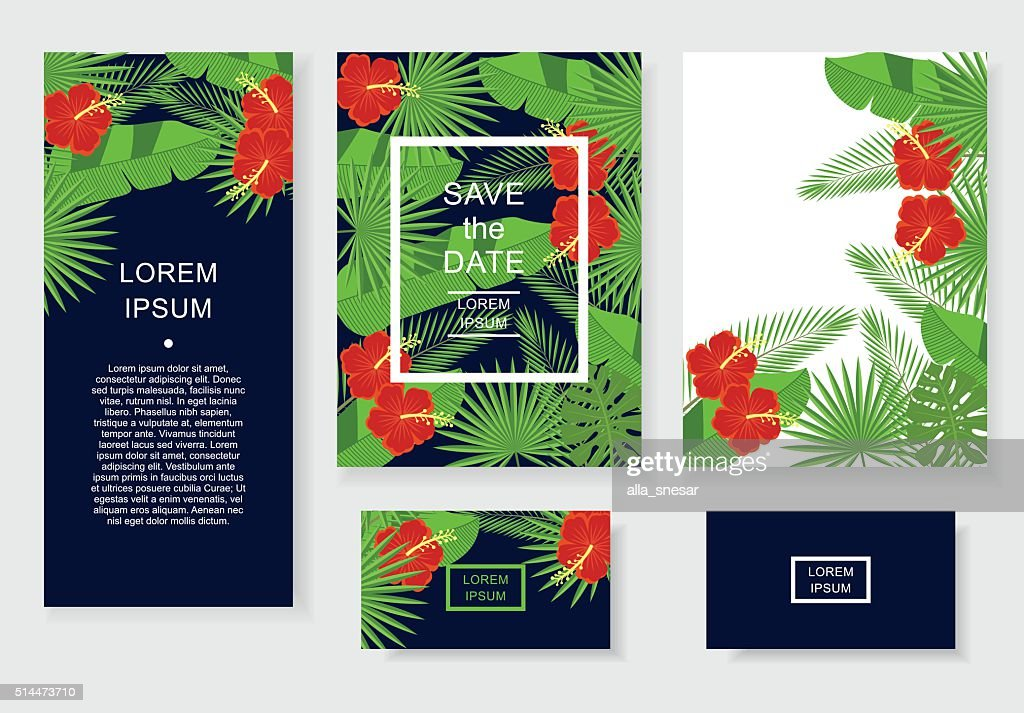 Template with tropical flowers and leaves.