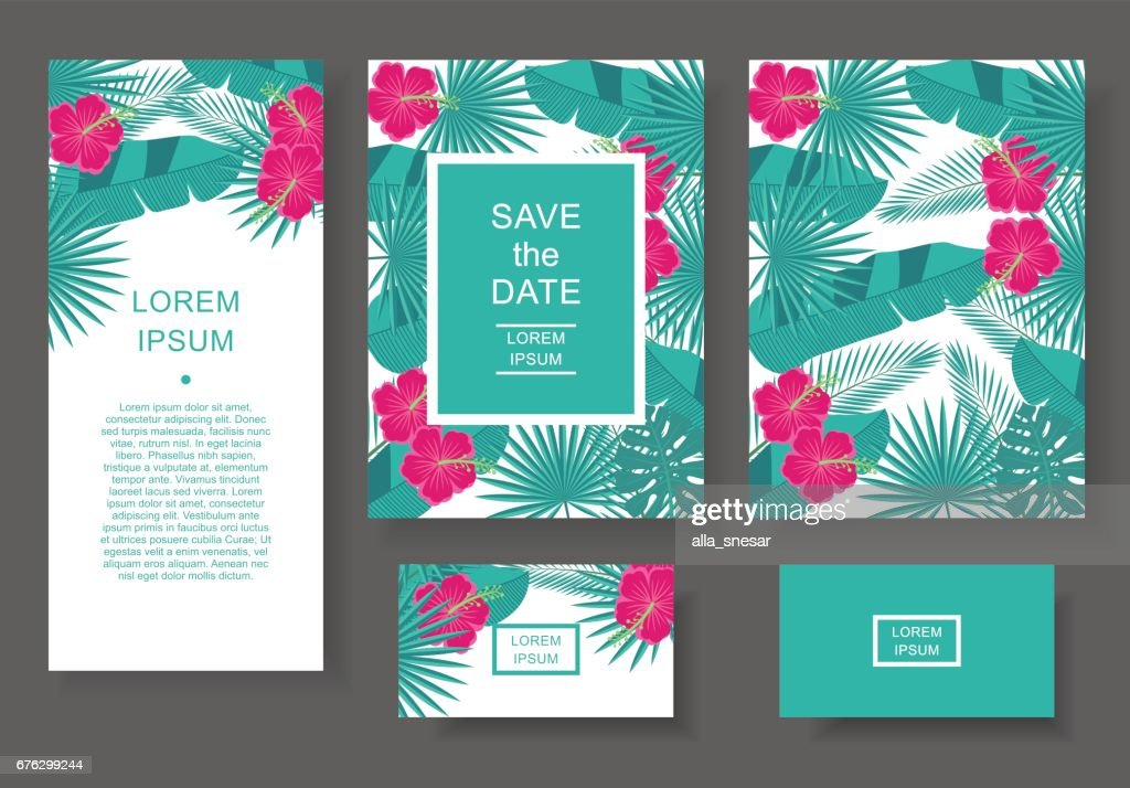 Template with tropical flowers and leaves