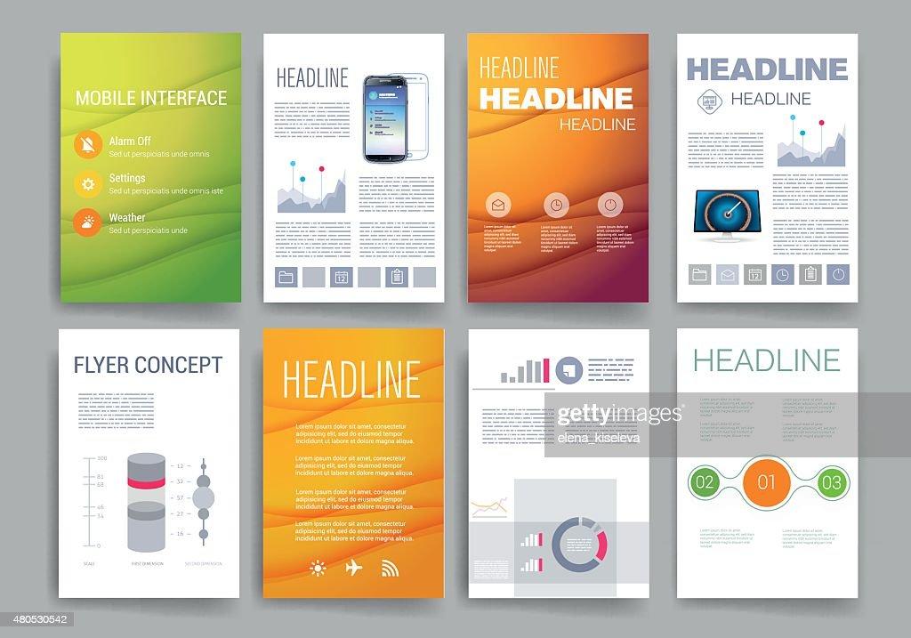 Vorlagen. Satz von Web-Design, Post, Broschüren. Mobile Technologie, Infografik : Vektorgrafik