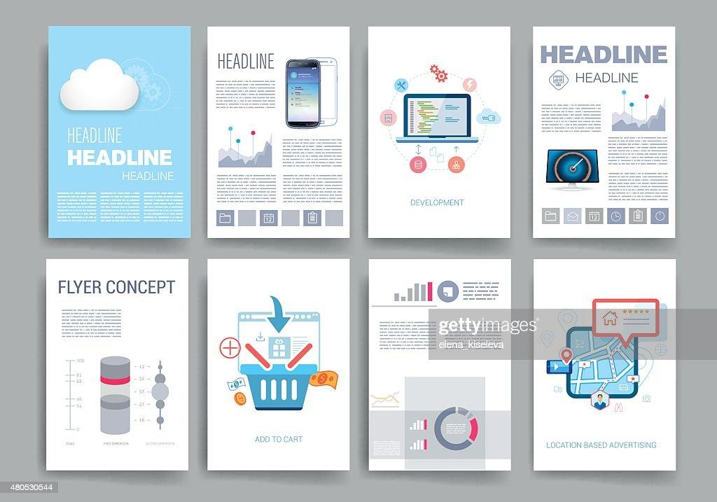 Templates. Design Set of Web, Mail, Brochures. Mobile, Technology, Infographic : Vectorkunst